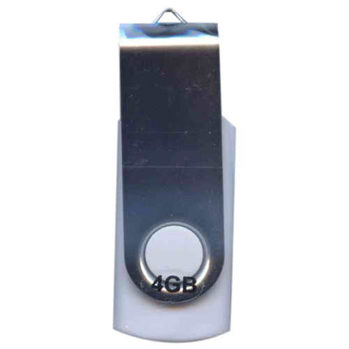 Gigaram UDF120-4GB-WH-HK 4GB USB 2.0 FlashDrive r13MB/s w5MB/s Rectangular Swivel White and Silver i