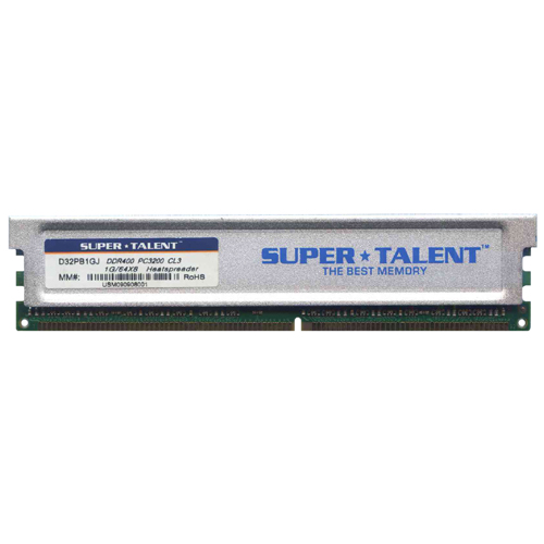 STT SUPERTALENT 1GB 184p PC3200 CL3 16c 64x8 DDR400 2Rx8 2.5V UDIMM  Heat sink W/3RD party label