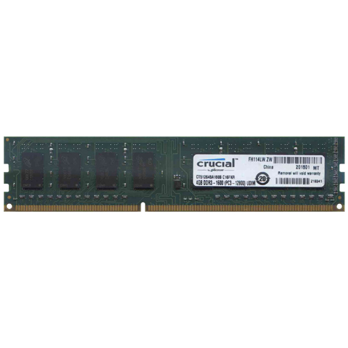 Crucial CT51264BA160B.M16 CSP 4GB 240p PC3-12800 CL11 16c 256x8 DDR3-1600 2Rx8 1.5V UDIMM