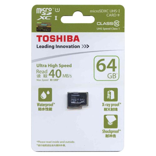 Toshiba SD-C064GR7AR040 CYT 64GB 8p MSDXC Class 10 UHS-1 40MB/s Micro Secure Digital Extended Capaci