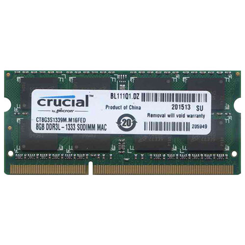 Micron/cucial CT8G3S1339M.M16FED CWT 8GB 204p PC3-10600 CL9 16c 512x8 DDR3-1333 2Rx8 1.35V SODIMM