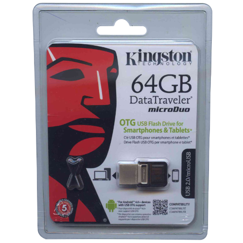 Kingston DTDUO/64GB CLT 64GB USB 2.0 OTG Flash Drive r15MB/s w5MB/s Data Traveler microDuo Retail