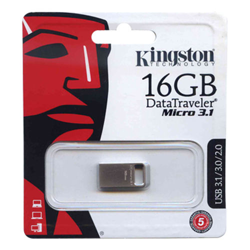 Kingston DTMC3/16GB 16GB USB 3.1 Flash Drive r100MB/s w10MB/s DataTraveler Micro 3.1 Silver Retail