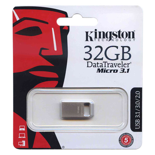 Kingston DTMC3/32GB 32GB USB 3.1 Flash Drive r100MB/s w15MB/s DataTraveler Micro 3.1 Silver Retail
