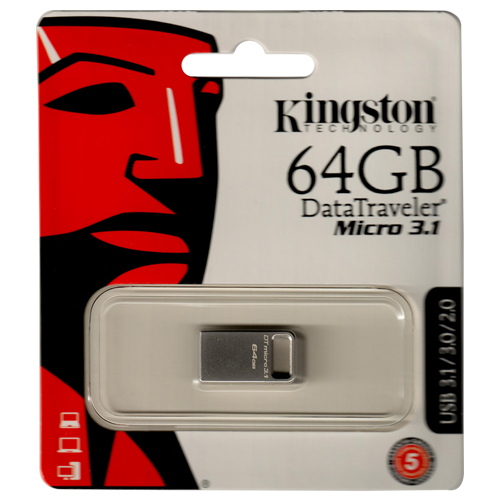 Kingston DTMC3/64GB 64GB USB 3.1 Flash Drive r100MB/s w15MB/s DataTraveler Micro 3.1 Metal Casing Re