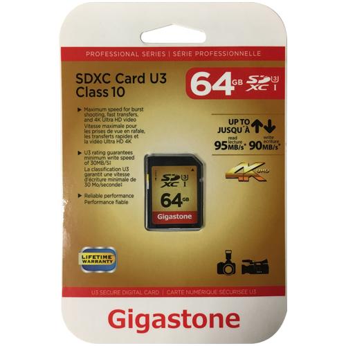 64GB 9p SDXC r95MB w90MB Class 10 UHS-1 U3 Secure Digital Extended Capacity Card Gigastone Professio