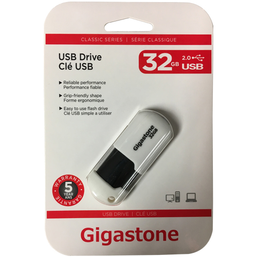 Gigastone GS-Z32GCNBL-R 32GB USB 2.0 Flash Drive r12MB/s w5MB/s Gigastone Classic Retractable white