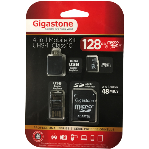Gigastone GS-4IN1X10128G-R 128GB 8p MSDHC r48MB/s w10MB/s Class 10 UHS-I Prime Micro Secure Digital