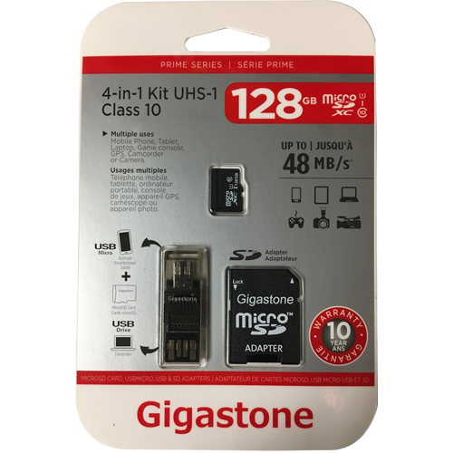 Gigastone GS-4IN1X1-128G-R 128GB 8p MSDHC r48MB/s w10MB/s Class 10 UHS-I Prime Micro Secure Digital