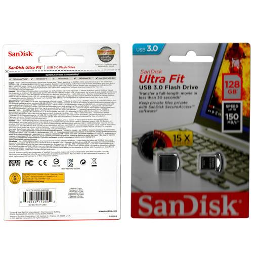 128GB USB 3.0 Flash Drive r150MB/s SanDisk Ultra Fit w/ Cap Retail
