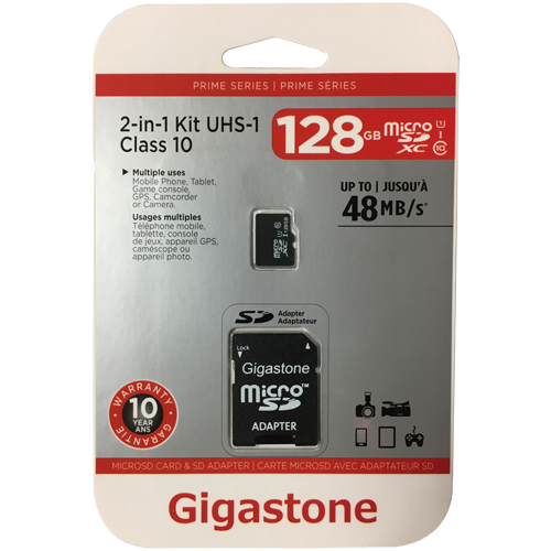 Gigastone GS-2IN1C10128G-R 128GB 8p MSDHC r48MB/s w10MB/s Class 10 UHS-I Micro Secure Digital High C