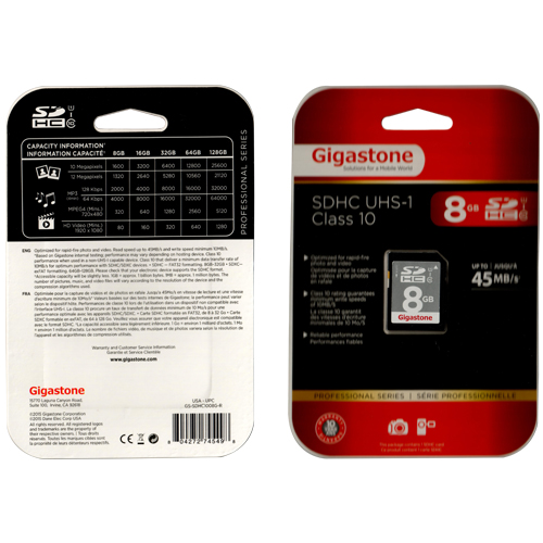Gigastone GS-SDHC1008G-R 8GB 9p SDHC r48MB/s Class 10 UHS-I Secure Digital High Capacity Card