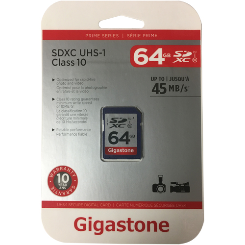 Gigastone GS-SDXCU164G-R 64GB 9p SDHC r48MB/s Class 10 UHS-I Secure Digital High Capacity Card