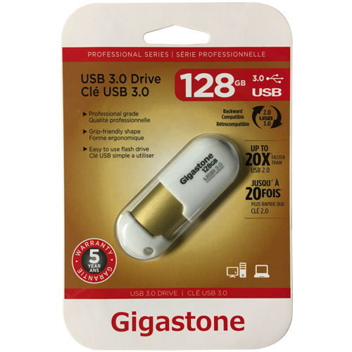 Gigastone GS-X3128GCNBL-R 128GB USB 3.0 Flash Drive Gigastone Professional Series Retractable White/