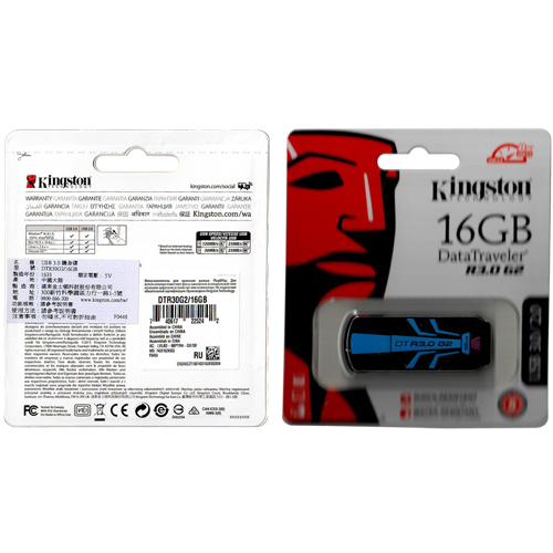 Kingston DTR30G2/16GB 16GB USB 3.0 FlashDrive Data Traveler R3.0 G2 Black and Blue Retail