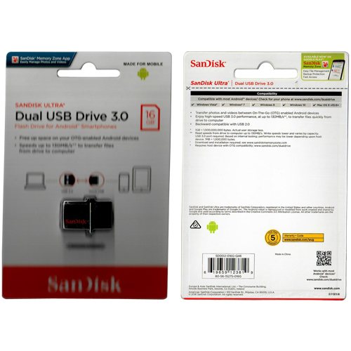SanDisk SDDD2-016G-Q46 16GB USB 3.0 Dual Flash Drive r130MB/s w40MB/s OTG SanDisk Ultra Retractable