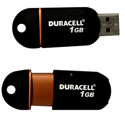 Dane-Elec DU-ZP-01G-CA-N3 1GB USB 2.0 Flash Drive r14MB/s w3MB/s Duracell Retractable Black Bulk