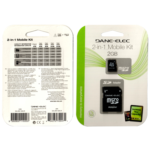 Dane-Elec DA-2IN1-02G-R 2GB 8p MSD Dane-Elec 2-in1 Mobile Kit 2GBMSD and Adapter Retail