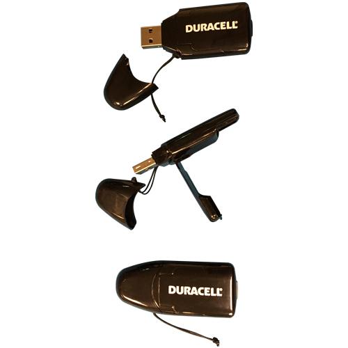 0MB USB 2.0 SDHC/SD/MiniSD/MMC Reader Duracell Black w/ Cap Bulk