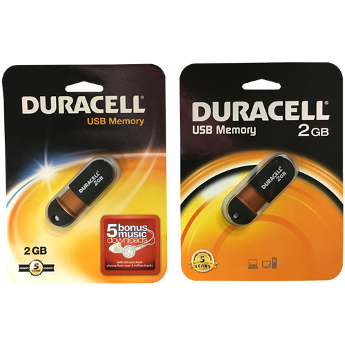 2GB USB 2.0 Flash Drive Duracell Capless Retractable Retail