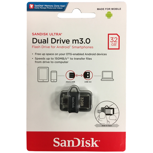 Sandisk SDDD3-032G 32GB USB 3.0 FlashDrive r150MB/s w40MB/ Sandisk OTG for Android Retail