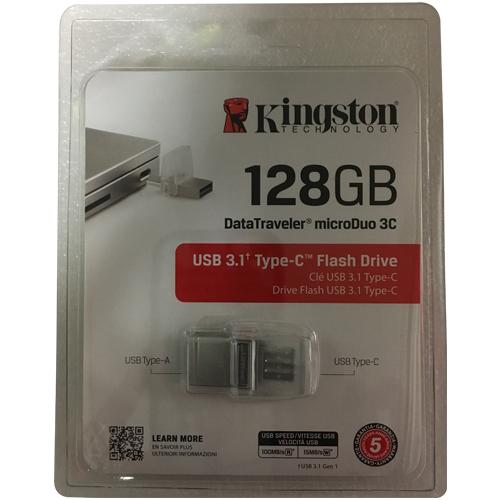 128GB USB 3.1 Flash Drive Type-C r100MB/s w15MB/s DataTraveler microDuo 3C Silver Retail