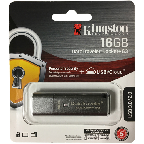 Kingston DTLPG3/16GB 16GB USB 3.0 Flash Drive r135MB/s w20MB/s DataTraveler Locker+ G3 Encryption Re