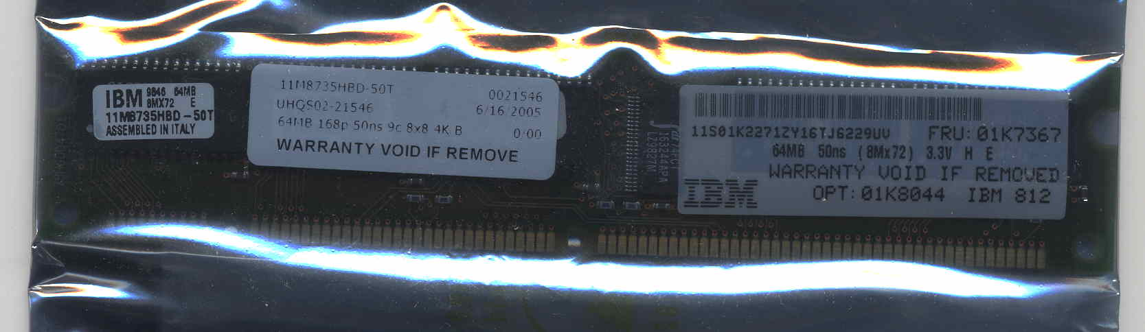 IBM  64MB 168p 50ns 9c 8x8 4K Buffered ECC EDO DIMM