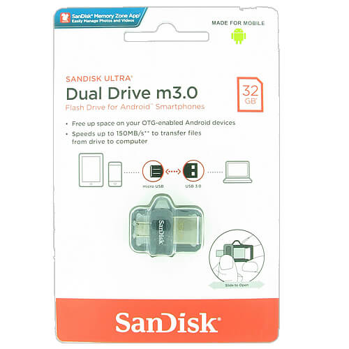 Sandisk SDDD3-032G-Q46 CUY 32GB USB 3.0 FlashDrive r150MB/s w40MB/s OTG for Android Sandisk Ultra Du