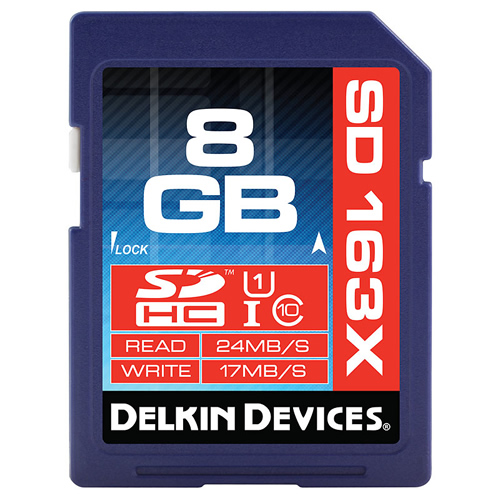 Delkin DDSD1638G-BT CQY 8GB 9p SDHC r24MB/s w17MB/s 163x Class 10 UHS-I U1 Secure Digital High Capac