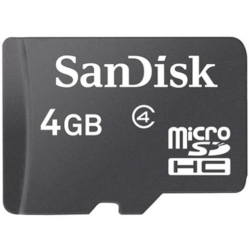 SanDisk SDSDQ-004G CRF 4GB 8p MSDHC Class 4 Micro Secure Digital High Capacity Card Bulk