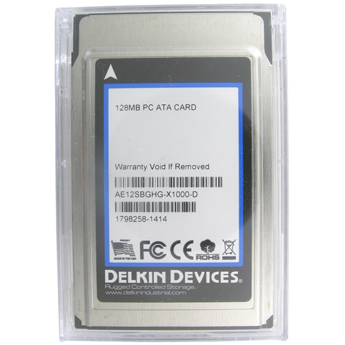 Delkin AE12SBGHG-X1000-D AWG 128MB 68p PCMCIA ATA Flash Card with Case