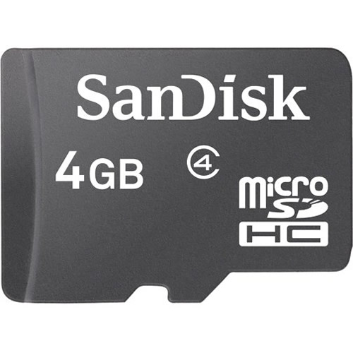SanDisk SDSDQ-004G CRF 4GB 8p MSDHC Class 4 Micro Secure Digital High Capacity Card Bulk RFB