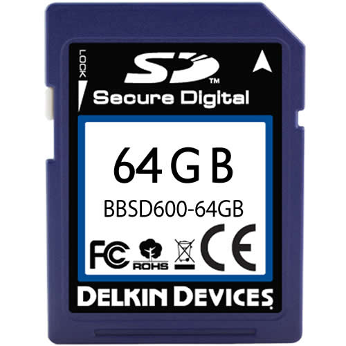Delkin BBSD600-64GB CVK 64GB 9p SDHC 600x Secure Digital High Capacity Card Bulk