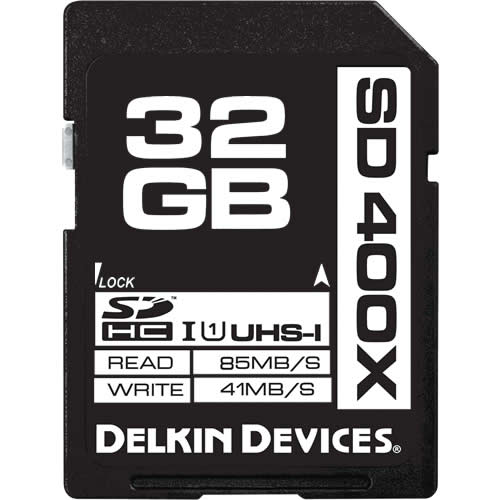 Delkin BBSD400-32GB CRC 32GB 9p SDHC 400x r65MB/s w41MB/s UHS-I U1 Secure Digital High Capacity Card