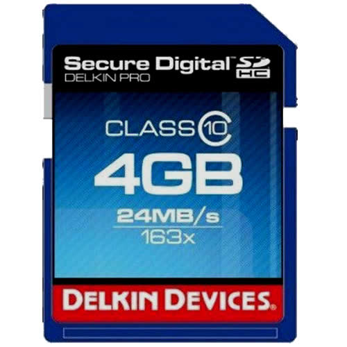 Delkin BBSDPRO-4GB CRM 4GB 9p SDHC 163x r24MB/s Delkin Pro Secure Digital High Capacity Card