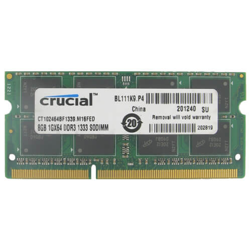 Crucial CT102464BF1339 BZT 8GB 204p PC3-10600 CL9 16c 512x8 DDR3-1333 2Rx8 1.5V SODIMM