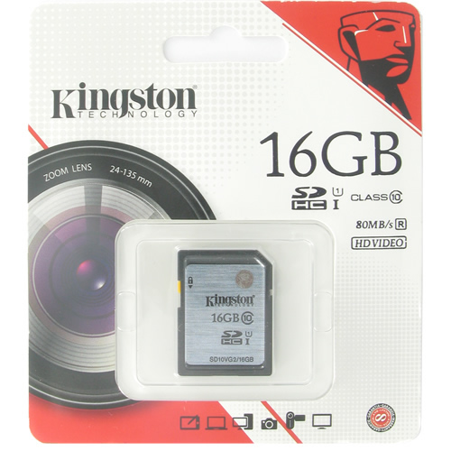 Kingston SD10VG2/16GBFR CRA 16GB 9p SDHC r80MB/s Class 10 UHS-I U1 Secure Digital High Capacity Card