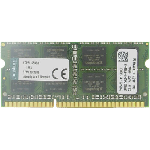 Kingston KCP3L16SD8/8 CYX 8GB 204p PC3-12800 CL11 16c 512x8 DDR3-1600 2Rx8 1.35V SODIMM