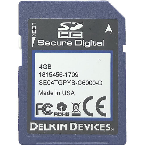 Delkin SE07TGPYB-C6000-D CRM 4GB 9p SDHC Class 10 r18MB/s w10MB/s Extended Temperature Secure Digita