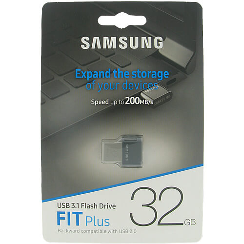 Samsung MUF-32AB/EU MAF 32GB USB 3.1 Flash Drive r200MB/s Samsung Fit Plus Silver/Black w/o Cap Reta