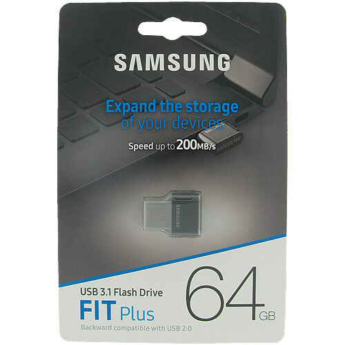 Samsung MUF-64AB/EU MAG 64GB USB 3.1 Flash Drive r200MB/s Samsung Fit Plus Black/Silver w/o Cap Reta