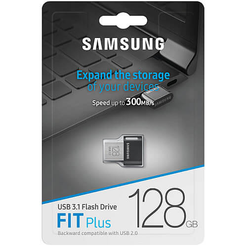 Samsung MUF-128AB/EU MAH 128GB USB 3.1 Flash Drive r300MB/s Samsung Fit Plus Black/Silver w/o Cap Re
