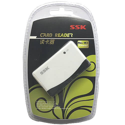 SSK SCRM057 BZH 0MB USB 2.0 to 16-in-1 Mini Card Reader/Writer, supports all SD, Micro, MMC, CF, MS,