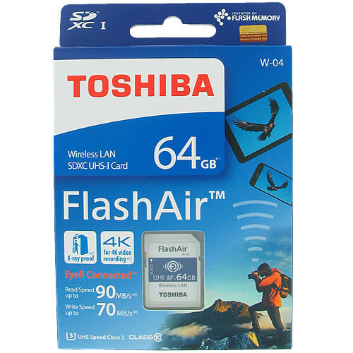 Toshiba THN-NW04W0640A6  CVK 64GB 9p SDXC r90MB/s w70MB/s Class 10 UHS-1 U3 Flash Air W-04 Wireless