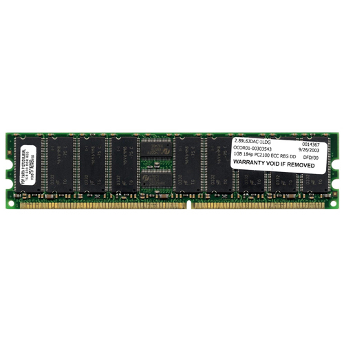 MemoryTen AAY 1GB 184p PC2100 CL2.5 18c 128x4 DDR266 1Rx4 2.5V ECC RDIMM 1.2in