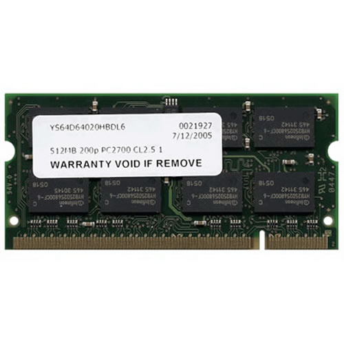 Gigaram  512MB 200p PC2700 CL2.5 16c 32x8 DDR SODIMM T005