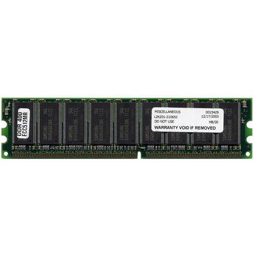 AJG 512MB 184p PC3200 CL3 18c 32x8 ECC DDR DIMM