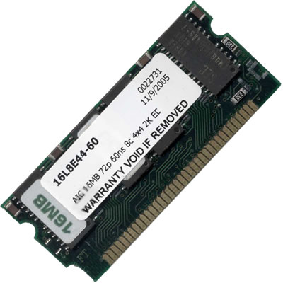 Gigaram  16MB 72p 60ns 8c 4x4 2K FPM 3.3v SODIMM High Profile