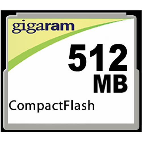 Gigaram CF-512MB-LI 512MB 50P CF CompactFlash Card r20MB/s w10MB/s 134x with GR Label Bulk